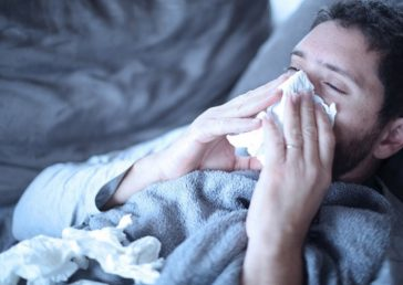 Man sick with flu