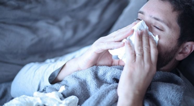 Man sick with flu